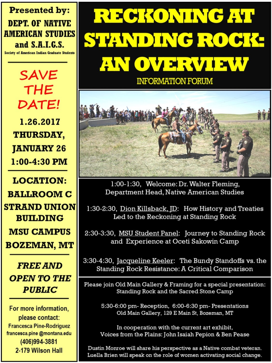 Reckoning at Standing Rock Event Flyer