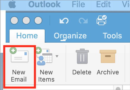Screenshot showing the New Email icon in the Outlook ribbon.