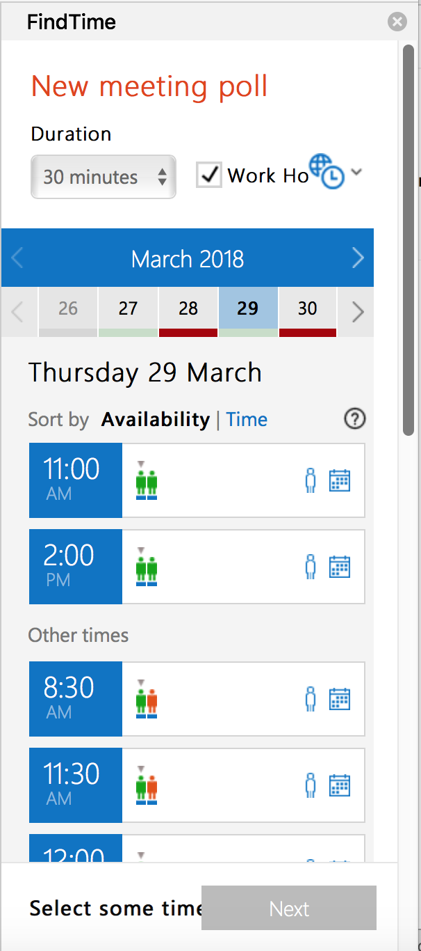 screenshot showing the FindTime New meeting poll panel with duration selection field and calendar where you select dates and times for your poll.