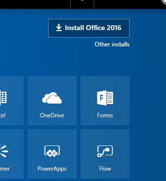 Screenshot showing the Install Office 2016 button that is clicked to download Office 2016 for Mac.  The button is located in the upper right corner of screen  The default color is blue.