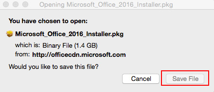 Micorsoft Office 2016 Installer, would you like to save this file pop-up box.