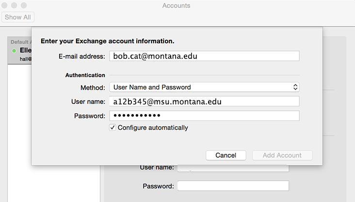 screenshot of Outlook Preferences - add account panel.