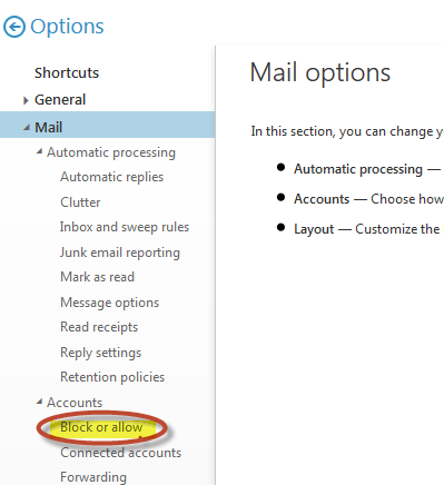 OWA Mail Options