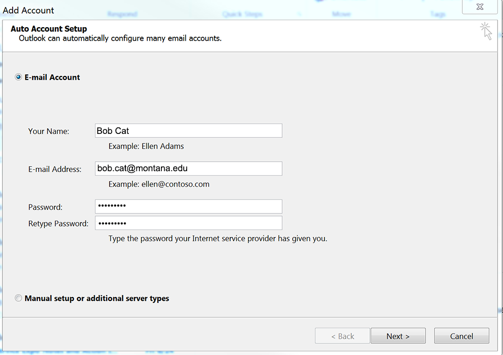 Screenshot of the Add Account, settings panel.