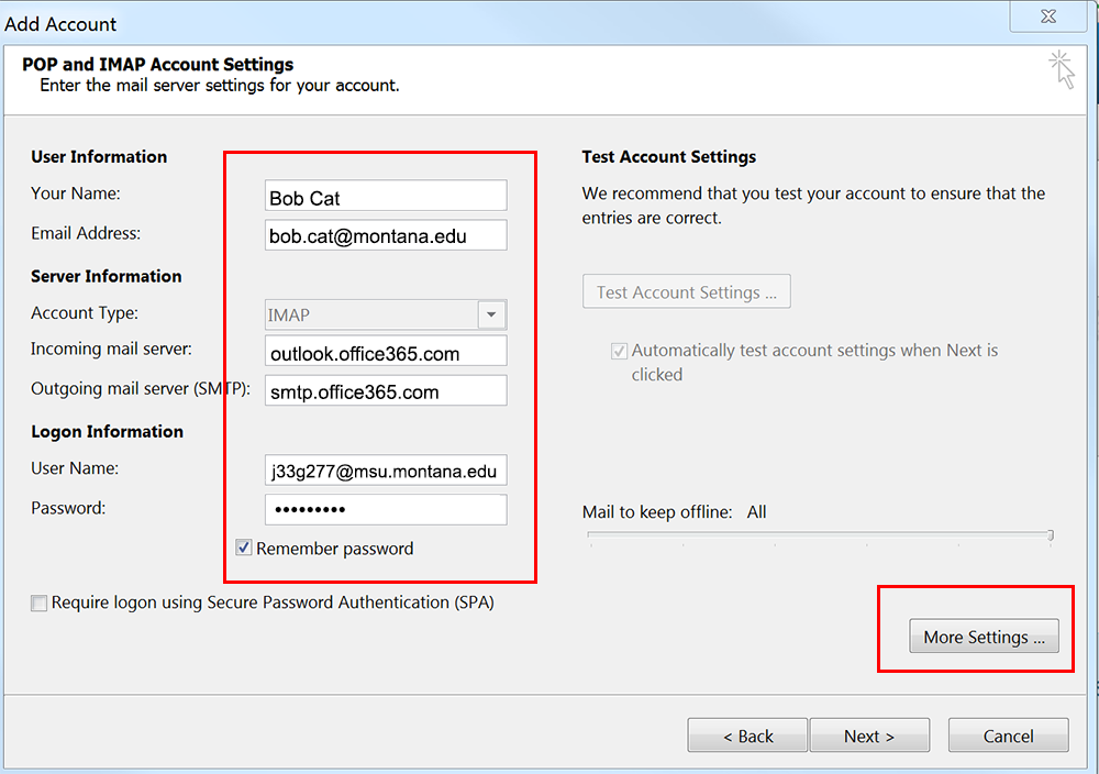 Screenshot of Add Account settings window