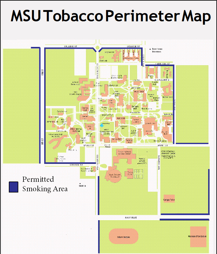 A map detailing permitted smoking areas around Montana State University. The area is described in greater depth below.