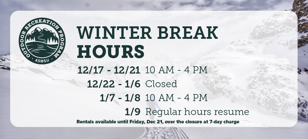 Dec 17 through 21 are 10 am - 4 pmDec 22 - Jan 6  we are closedJan 7 and 8 are 10 am - 4 pmRegular hours resume Jan 9Rentals available until Friday Dec 21, over the closure at 7-day charge