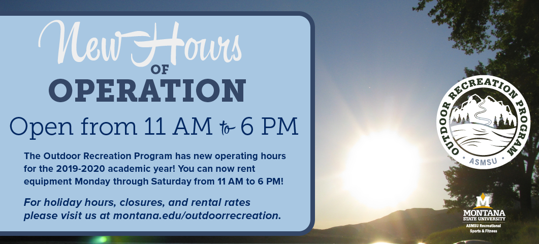 ORP has new operating hours for the 2019/20 academic year.  You can now rent equipment Monday - Saturday from 11 am - 6 pm.