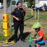 police posing at playground