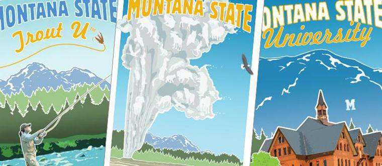 MSU Retro Posters Trout U with fly fisherwoman, Yellowstone with Old Faithful and Main Hall on campus