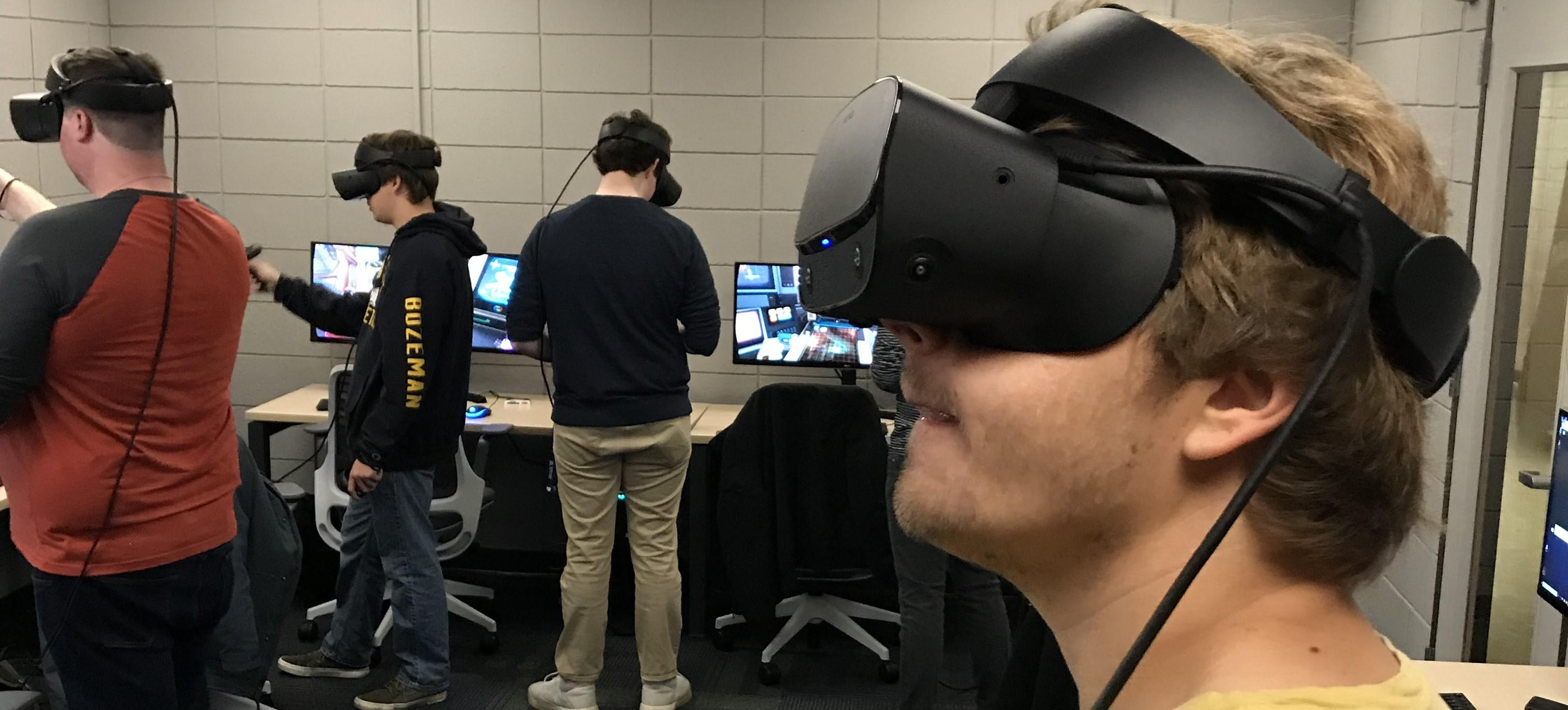 Students wearing VR headsets in the Montana Reality Lab