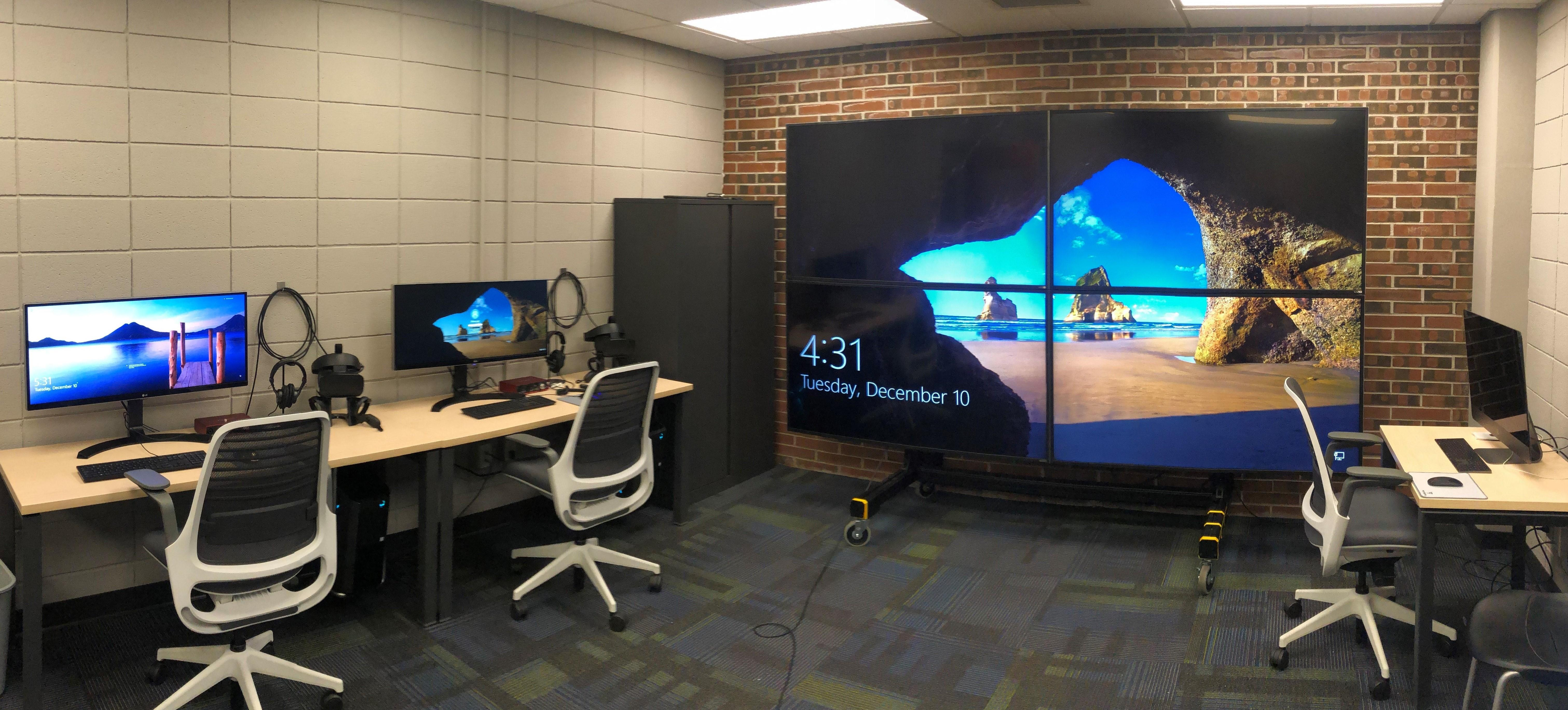 The Montana Reality Lab with a large 8K display