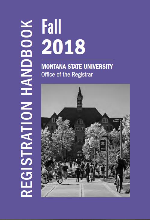 Registration Handbooks Registrar Montana State University