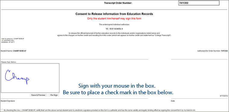 Sign with mouse click check box