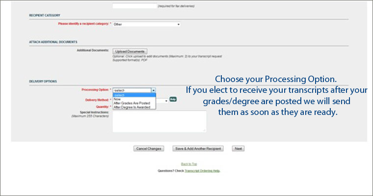 Choose Processing Option