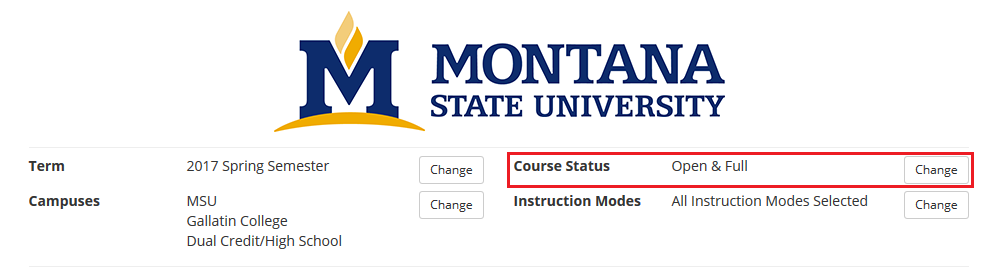 "screen shot from cat course highlighing that students should select ""Change"" button next to course status"