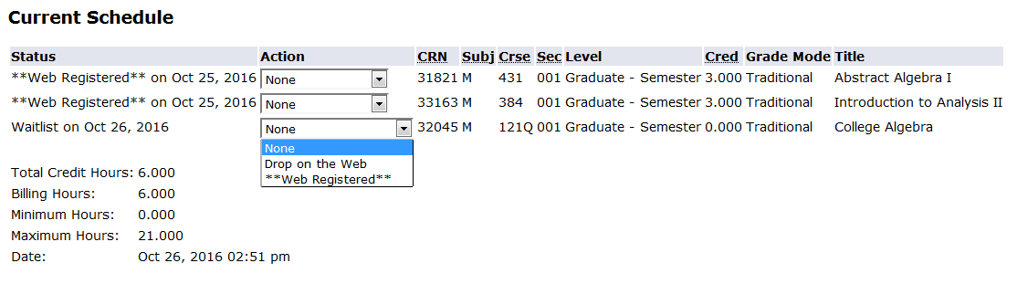 "screen shot from my info current schedule screen indicating that student must change from ""waitlist"" to ""web registered"" on action dropdown for each waitlisted course"