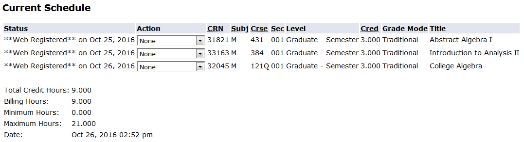screen shot from my info current schedule screen indicating all courses were successfully registered on web