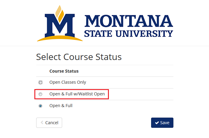 "screenshot from cat course highlighting that students should select ""Open & Full w/ Waitlist Open"" option from available options"