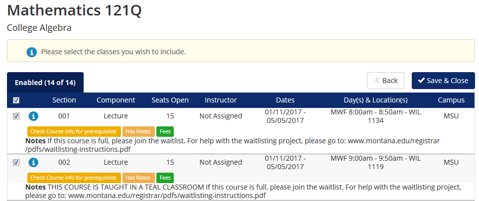 "screen shot from cat course indicating that courses have a column for ""seats open"""