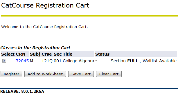 screen shot from my info indicating cat course registration cart contents