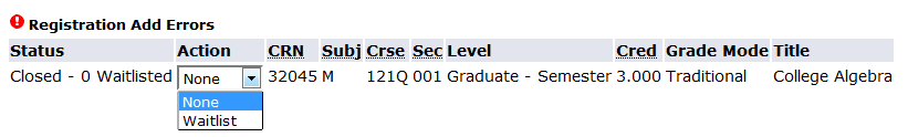"screen shot from my info indicating student should choose ""waitlist"" from the ""action"" dropdown for each closed course"