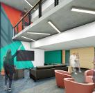 New Residence Hall active lounge 2-story gathering space.
