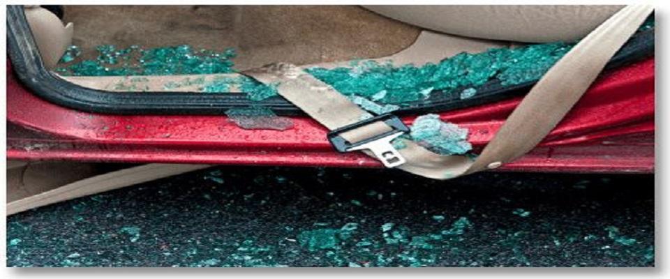 Seat belt hanging out car door - car accident