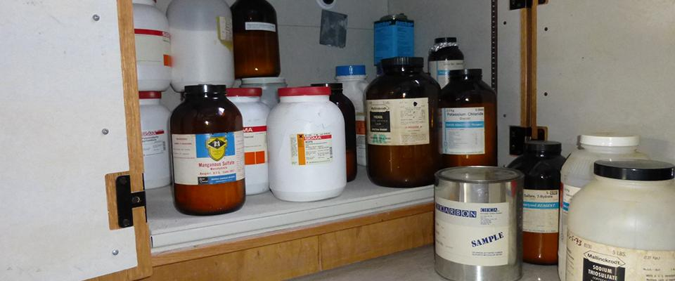Chemicals in a cabinet