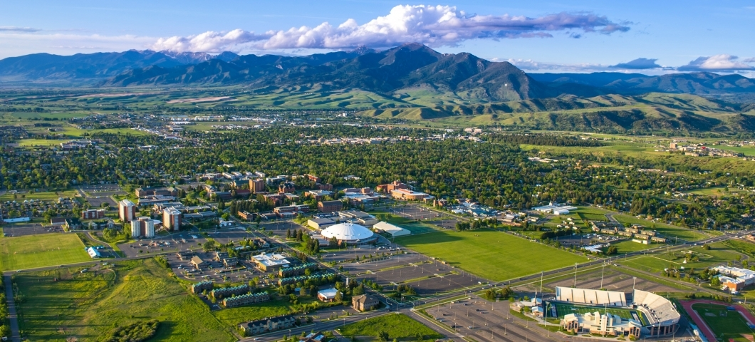 Areial view of MSU with Bridger mountains in the background