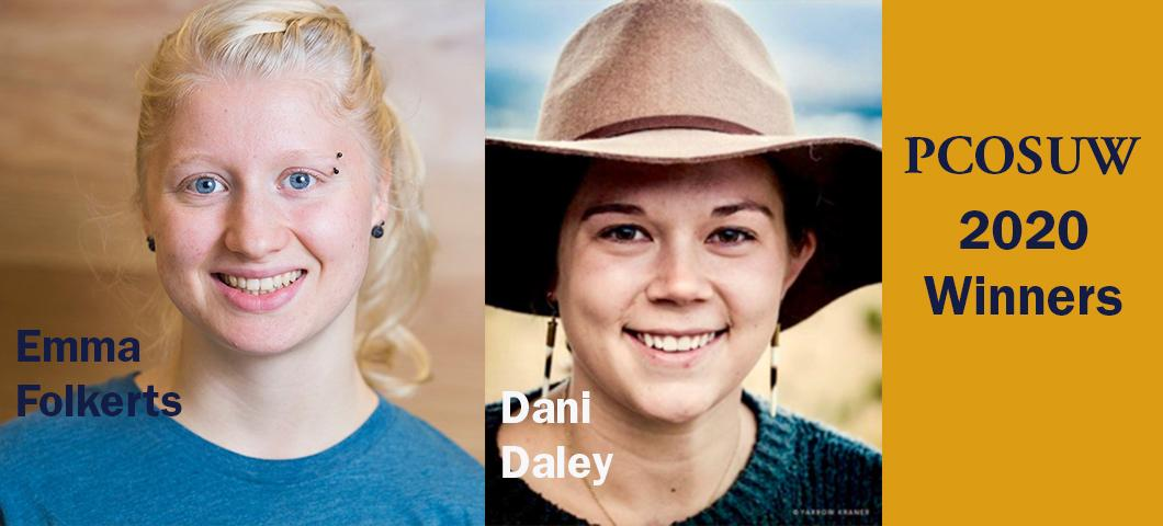 Dani Daley and Emma Folkerts win the 2020 President's Commission on the Status of University Women Awards for the efforts advancing gender equity on campus!