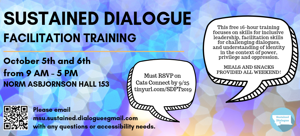 sustained dialogue facilitation October 5th and 6th from 9am-5pm norm asb.
