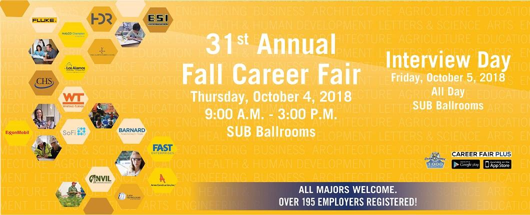 Come join us for the 31st Annual Fall Career Fair. Click here for more information.