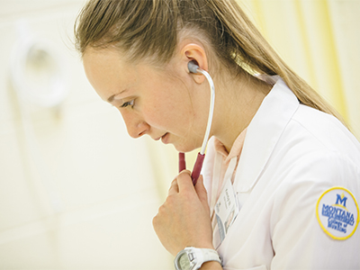 Nursing student with a stethoscope