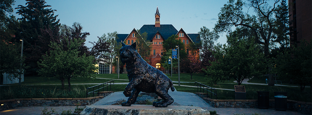 Spirit sculpture in front of Montana Hall at twilight