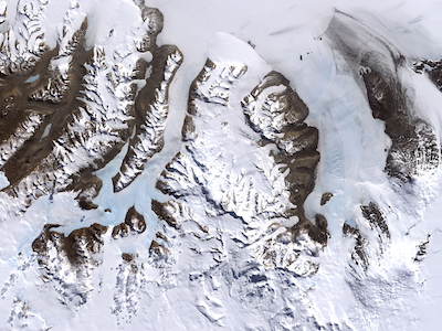 satellite photo of glaciers and bare mountains in Antarctica