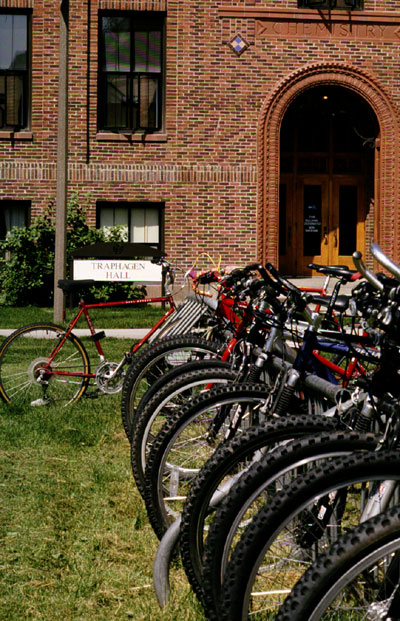 Bikes parked in front of a MSU Hall