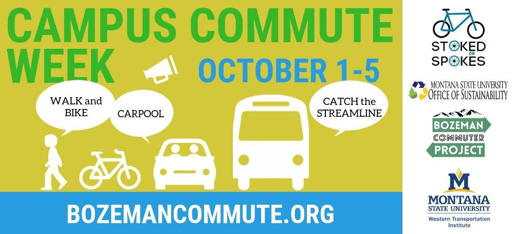 Advertisement for MSU's Campus Commute Week on October 1-5. bozemancommute.org