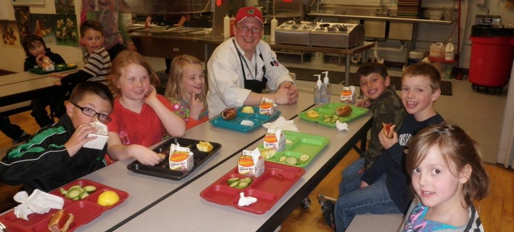 Food Service Director visits with students at Gallatin Gateway School