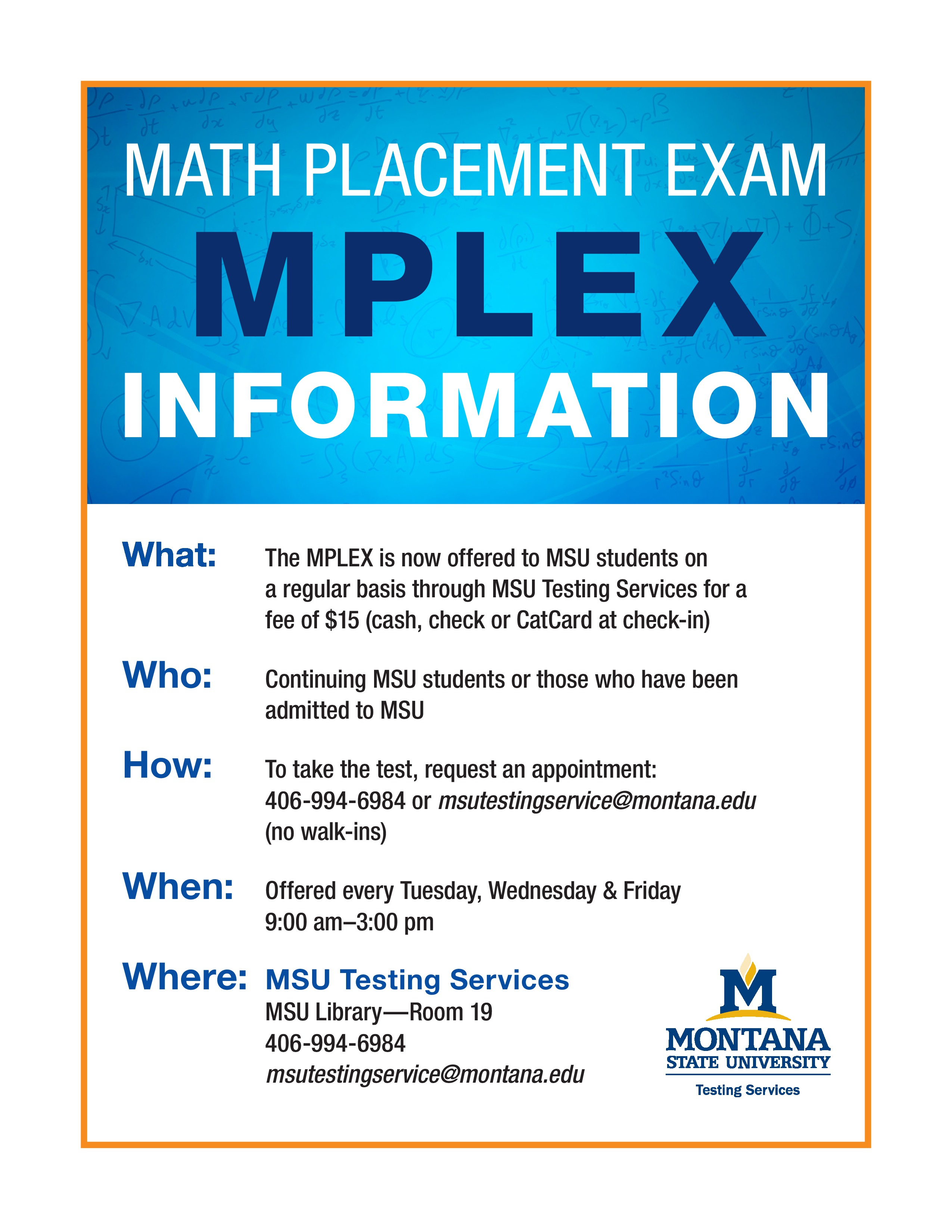 MPLEX Math Placement Text Information Flier