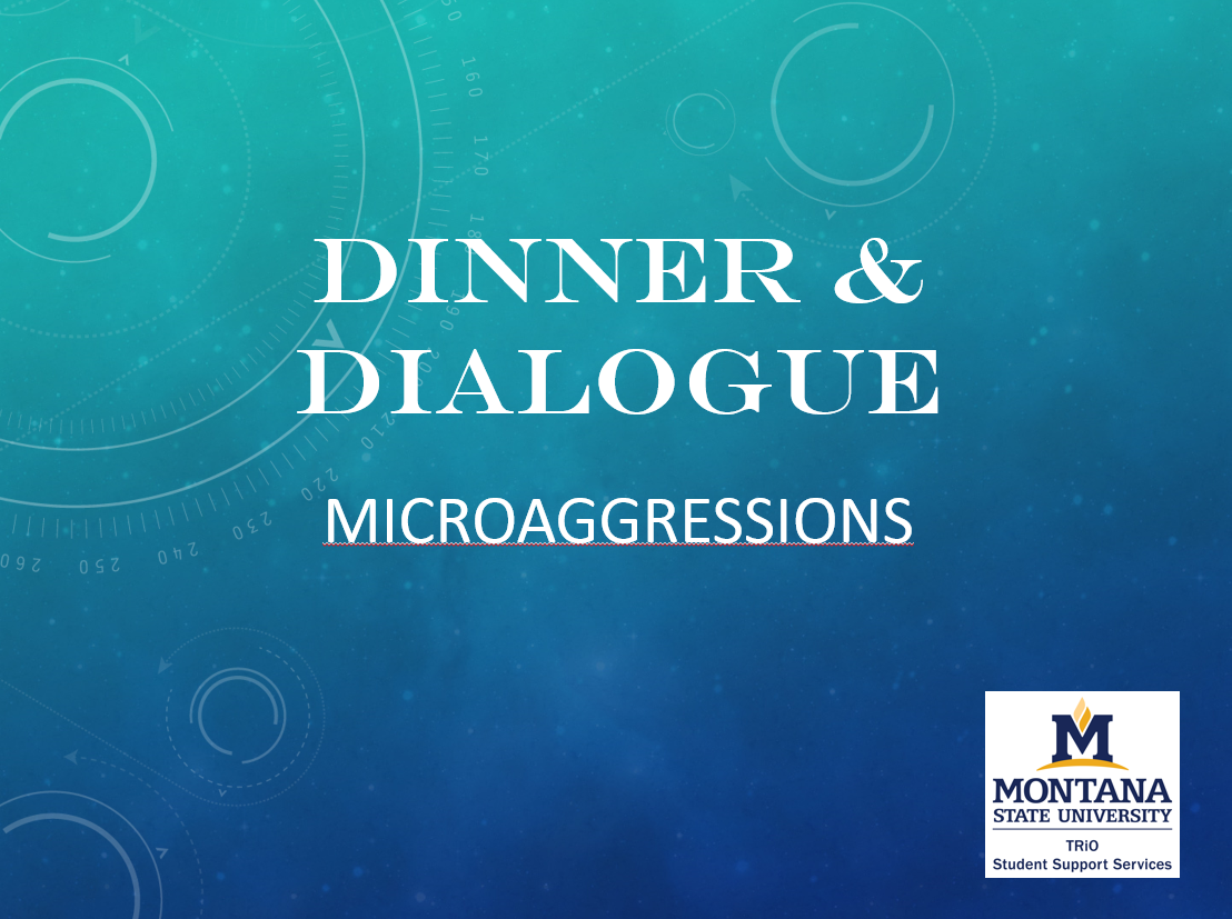 The words Dinner and Dialogue on a blue background with the TRiO SSS logo on the bottom right