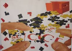 "Poster of with an image of puzzle pieces spilled out of a box labeled ""success"""