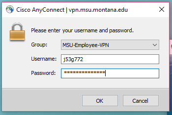 Screenshot of Cisco AnyConnect login fields including the group drop down