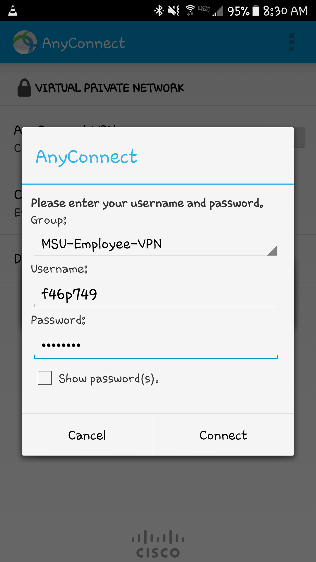 screen shot of Android Anyconnect screen