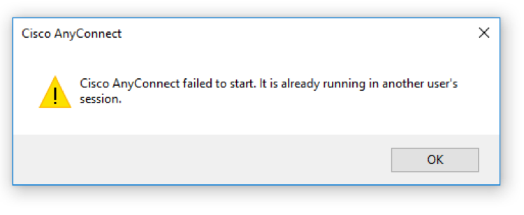 A screenshot of the Cisco AnyConnect error that reads: Cisco AnyConnect failed to start.  It is already running in another user's session.