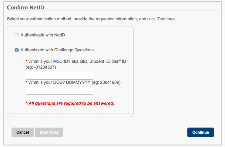 Screenshot of portal showing fields to enter MSU ID (GID) and birthdate and also the radio button to select to authenticate with NetID.