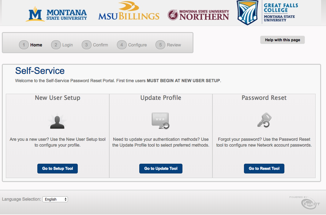 A screenshot displaying the new Self Service Password Portal