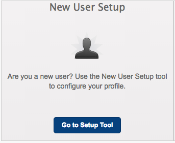 Screensho of New User Setup Tile in the new password portal.