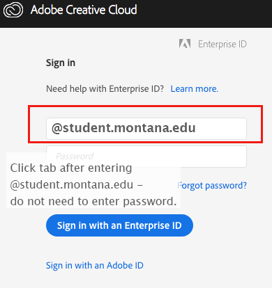 image of @student.montana.edu entered into the email field and the Enterprise signin .