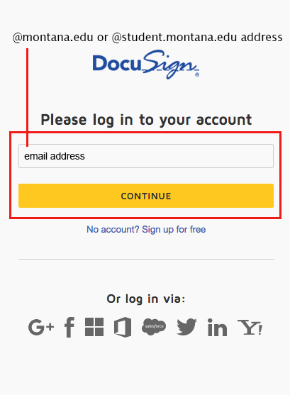 Screen shot of the DocuSign Sign in field where you enter your @montana.edu or @student.montana.edu address